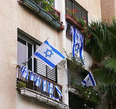 Independence Day flags on Yom Haatzmaut