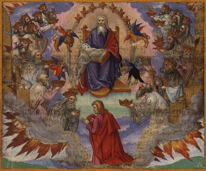 John's Vision of Heaven, by Matthias Gerung, depicting the Lamb opening the seven seals.