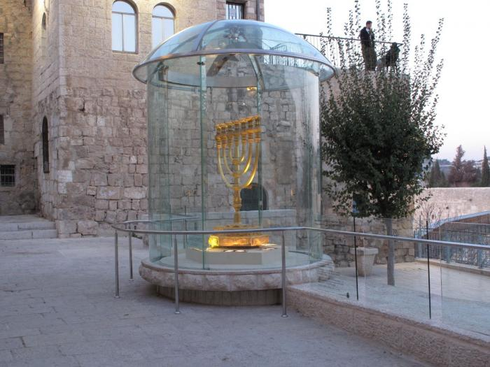 This Golden Menorah, which was created for use in the Third Temple, is currently resting in a prominent place in front of the Western (Wailing) Wall plaza.  At 95 pounds of pure gold, it's worth an estimated $2 million.