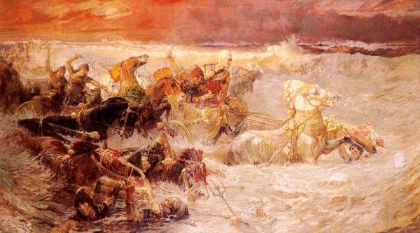 Pharaoh's Army Engulfed by the Red Sea-Frederick Arthur Bridgman