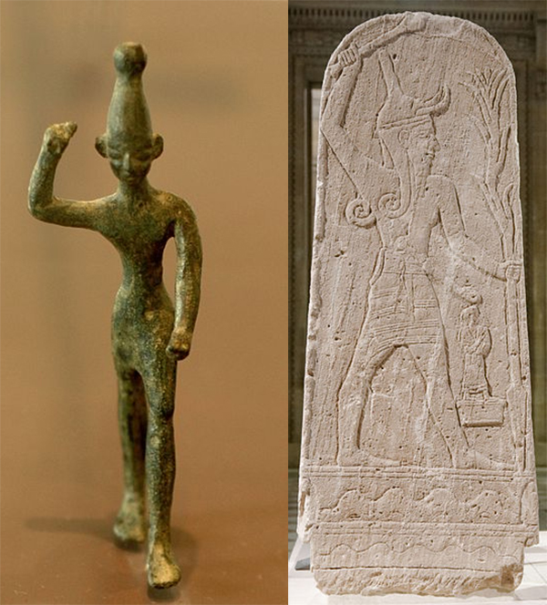 The Baal stele (right) was discovered in 1932 in Ugarit, Syria about 20 metres (66 feet) from the Temple of Baal. As this Canaanite god was believed to be a god of storm and rain, he is depicted holding a thunderbolt. The bronze of baal (left) was also found in ancient Ugarit.