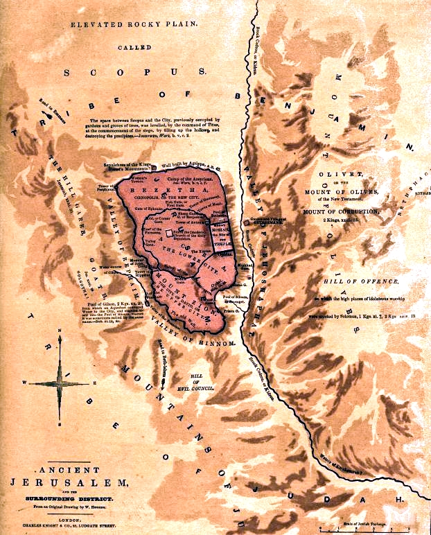 An 1845 map of Ancient Jerusalem identifying Mount Zion with the Pool of Siloam beside it.  To the right of Mount Zion is the Hill of Offense, so named because Solomon built high places to false gods there.  Silwan is built on its steep western face and now extends down into the Kidron Valley (Valley of Jehoshaphat) and up to Mount Zion.   The Mount of Olives is the elevation just north of Silwan.