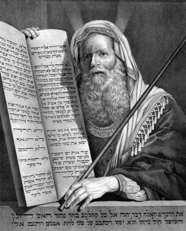 Vintage engraving, Moses, Ten Commandments
