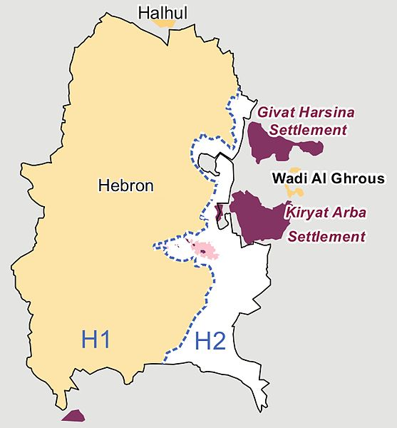 Following the 1995 Oslo Agreement and subsequent 1997 Hebron Agreement, Hebron was split into two sectors: H1, controlled by the Palestinian Authority, and H2, controlled by Israel.