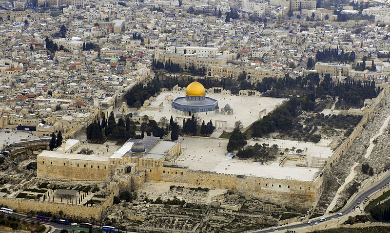 Aerial view- Temple Mount-Dome of the Rock-Al-Aqsa Mosque