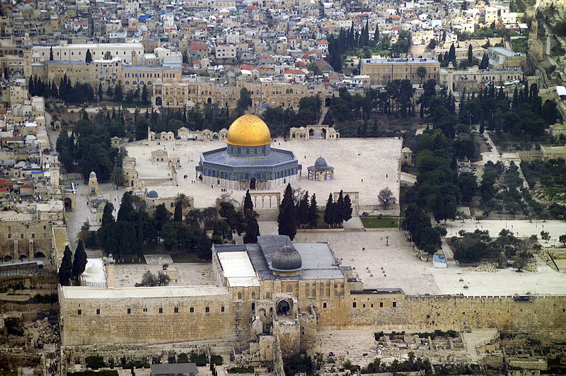 Aerial view of the Temple Mount with the Dome of the Rock and the Al-Aqsa Mosque.