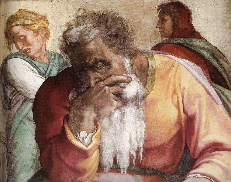 The Prophet Jeremiah-Michelangelo-Sistine Chapel ceiling-The Book of Lamentations