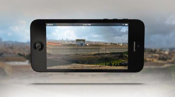 Hat the Temple Mount might have looked like through a special smartphone application called Architip