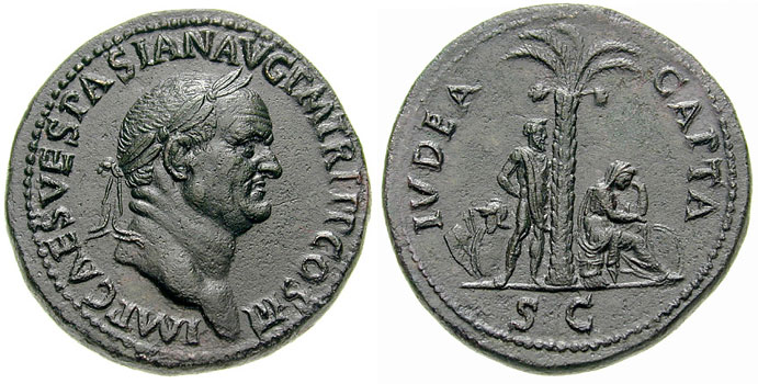 Judea Capta-Coin-Roman coins-AD 71-Vespasian-Jewish woman mourning