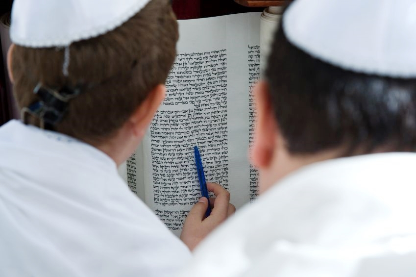Reading-Torah scroll-men-Bar Mitzvah