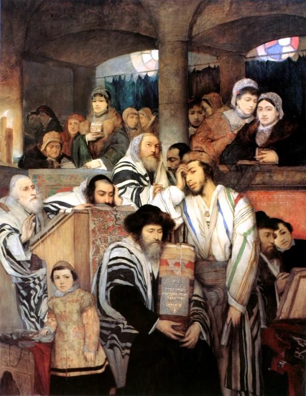 Jews Praying- Synagogue-Yom Kippur-Maurycy Gottlieb