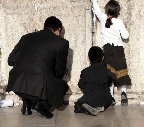 Jewish father-children-Western (Wailing) Wall-Kotel