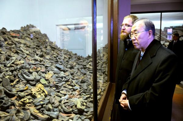 Ban Ki-Moon-mounds of shoes-Auschwitz-Birkenau Memorial -Piotr M.A. Cywiński-State Museum