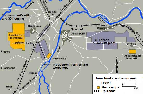 Map of the Auschwitz Concentration Camp and environs, 1944.  Polish killing centers were deliberately situated along rail lines, and 44 parallel tracks led to Auschwitz.  (Jewish Virtual Library)
