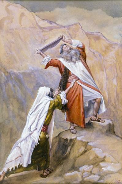 Moses Destroys the Tablets of the Ten Commandments-James Tissot