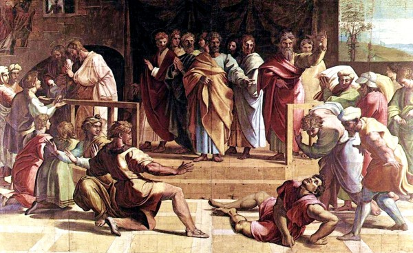 The Death of Ananais, by Raphael