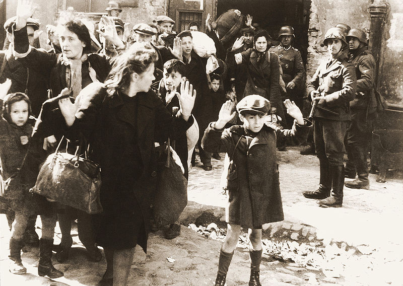 The Nazis forcibly remove men, woman, and children from Poland's Warsaw Ghetto in 1943 after crushing the Jewish resistance that opposed Nazi Germany's effort to transport the remaining Ghetto population to the Treblinka extermination camp.
