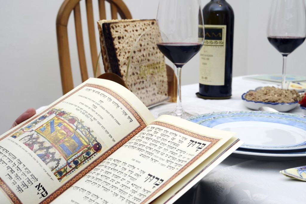 The Passover Seder (ritual meal; literally, order) follows a pattern that is set in the Haggadah, a Jewish text that is read on the first night of Passover.  Among the symbolic foods served at the Seder are matzah (unleavened bread) and four cups of wine: the Cup of Sanctification; the Cup of Deliverance; the Cup of Redemption; and the Cup of Restoration.