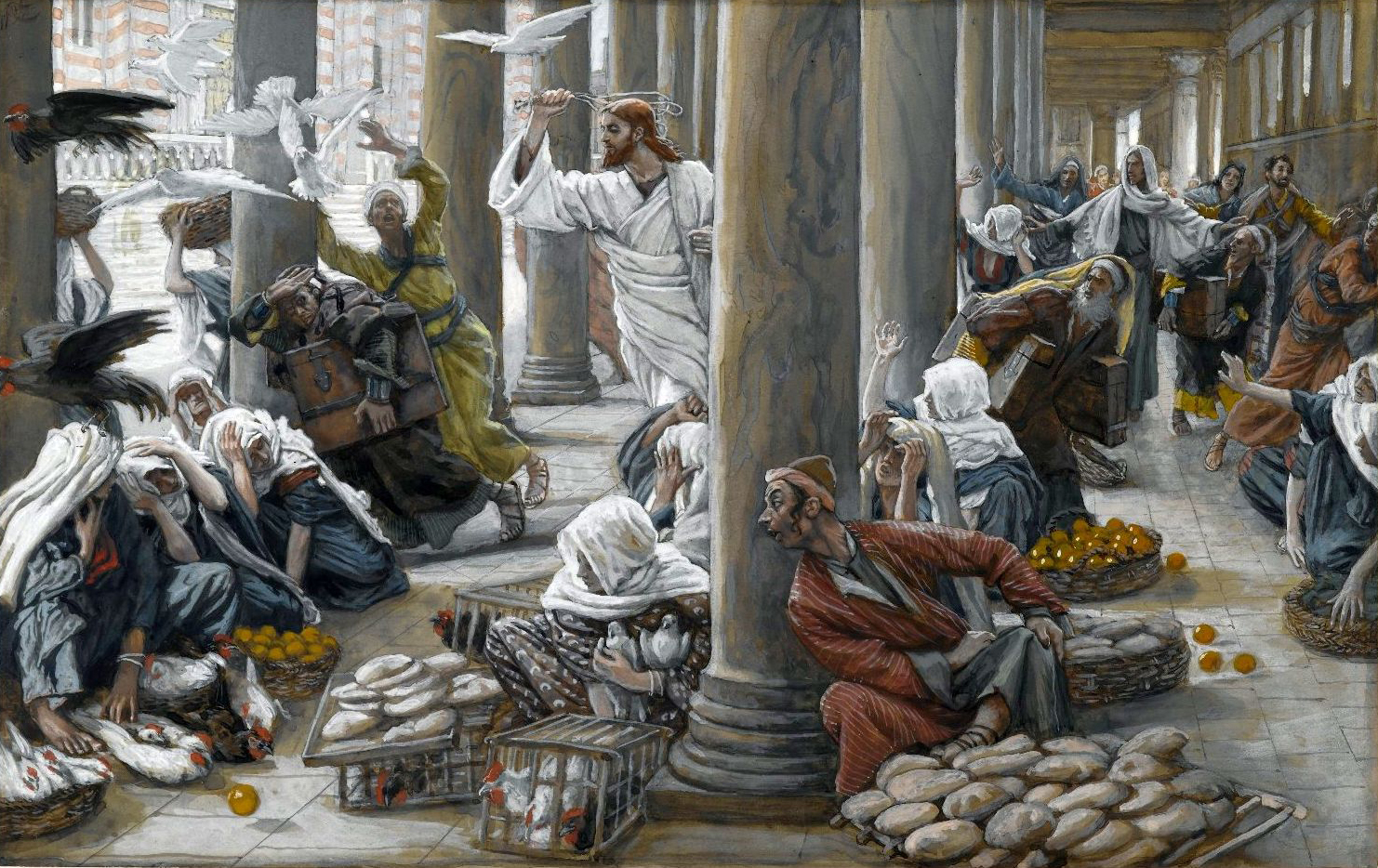 The Merchants Chased from the Temple, by James Tissot