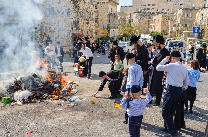 This morning before Passover, all the chametz (products with yeast) that was found during last night's search for chametz, and anything that was left over from breakfast, was burned.