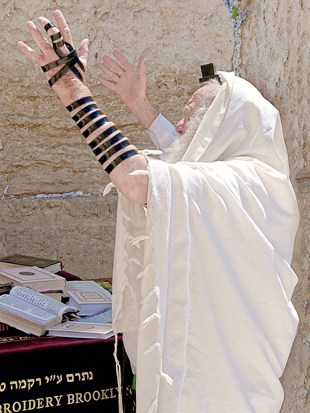 A Jewish man prays at the Western (Wailing) Wall in Jerusalem.
