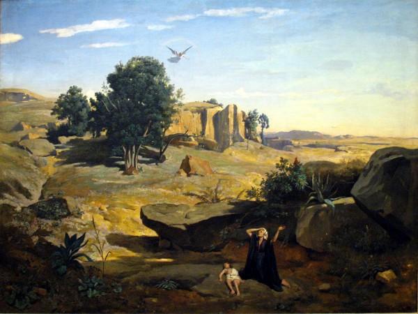 Hagar in the Wilderness-Jean Baptiste Camille Corot