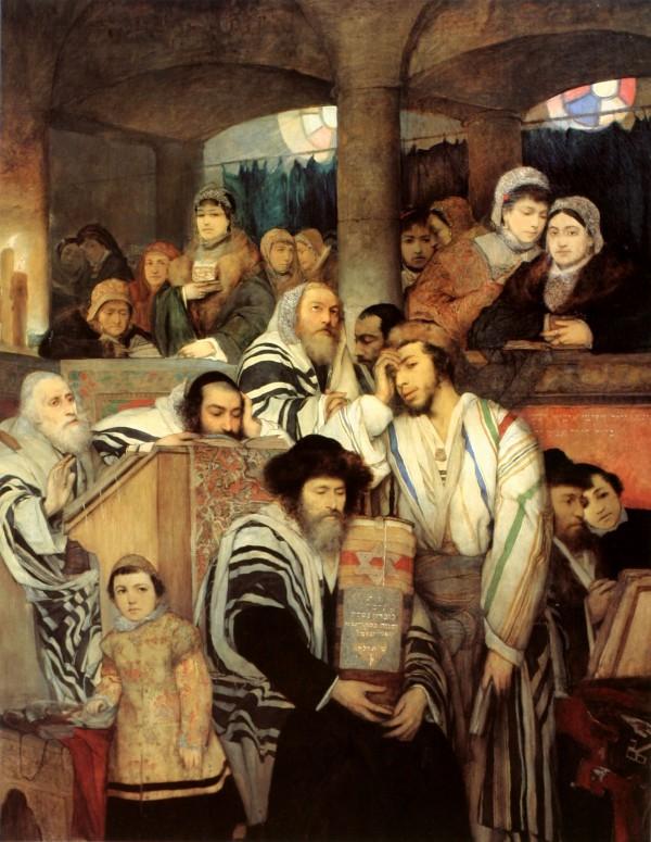 Jews Praying in the Synagogue on Yom Kippur by Maurycy Gottlieb
