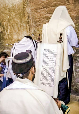 Tisha B'Av-Kotel-Jewish men-Western Wall-Temple Mount-Old City-Jerusalem