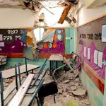 An Israeli kindergarten in Beersheva is struck by a Hamas missile.