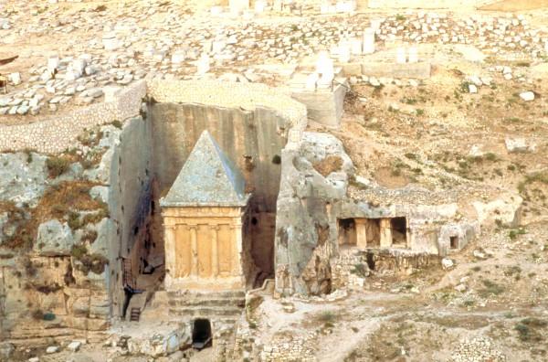 Tomb Zechariah Mount of Olives cemetery monolith Benei Hezir Kidron Valley