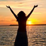 Praising sunset water