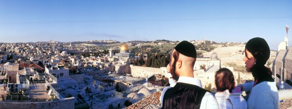 A view of the Temple Mount and the Mount of Olives