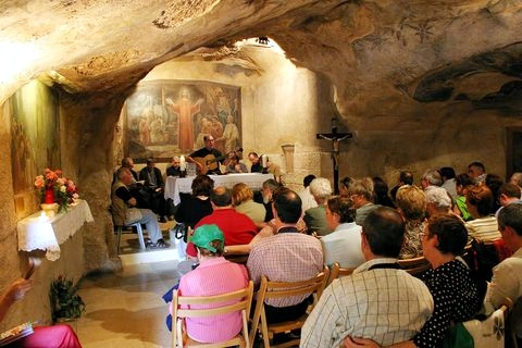 Pilgrims in the Grotto at Gethsemane