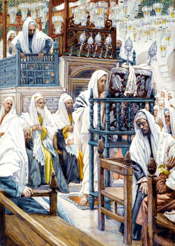 Yeshua Unrolls the Scroll in the Synagogue, by James Tissot
