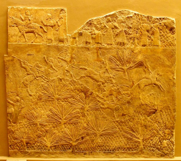 The above Assyrian panel, called the Lashish Relief, shows the Assyrian cavalry in action. The scene at the top shows prisoners being led away. Lashish was captured by Sennacherib during King Hezekiah's revolt against Assyria, despite the city's determined resistance.