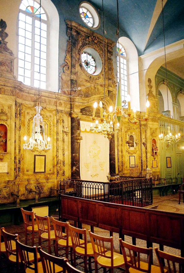 white parochet Torah Ark