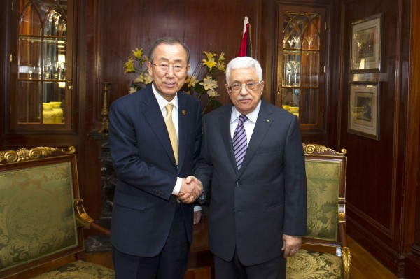 Secretary-General Ban Ki-moon (left) meets with Mahmoud Abbas, President of the State of Palestine, in Cairo, Egypt.