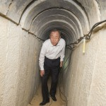 Secretary-General Ban Ki-moon at a Hamas terrorist tunnel near Kibbutz Ein Hashlosha in Israel.