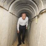 Secretary-General Ban Ki-moon at a Hamas terrorist tunnel near Kibbutz Ein Hashlosha in Israel.