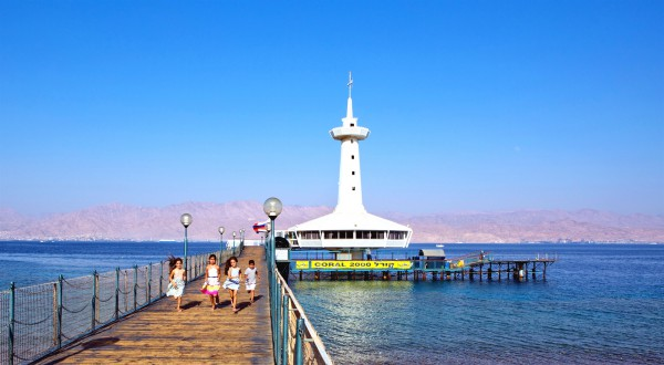 The Coral World Observation Tower in Eilat, which is Israel's southernmost city and a popular resort area for Israeli families and tourists.