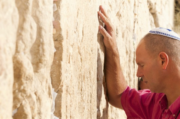 Jewish man pray Western Wailing Wall Jerusalem