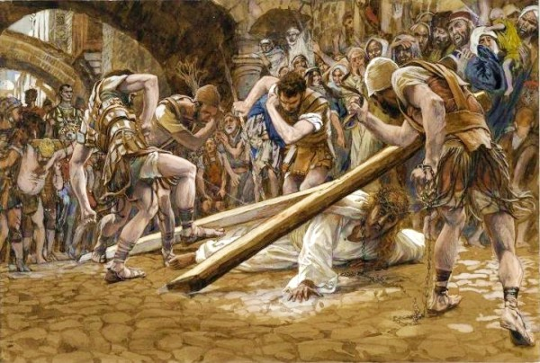 Yeshua Falls Beneath the Cross, by James Tissot