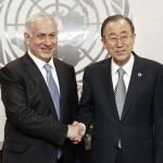 Benjamin Netanyahu, the Prime Minister of Israel, met with Secretary-General Ban Ki-moon (right) on Sept 30, 2014 to discuss the UN bias against Israel, among other topics.
