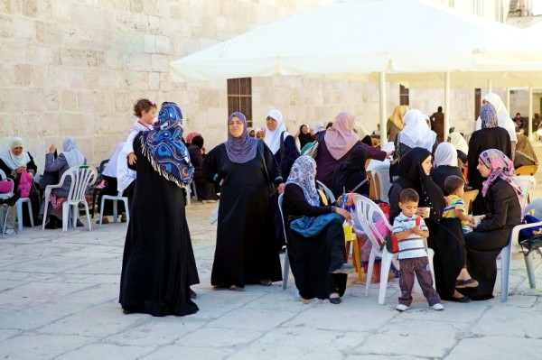 Muslim women and children on the Temple Mount