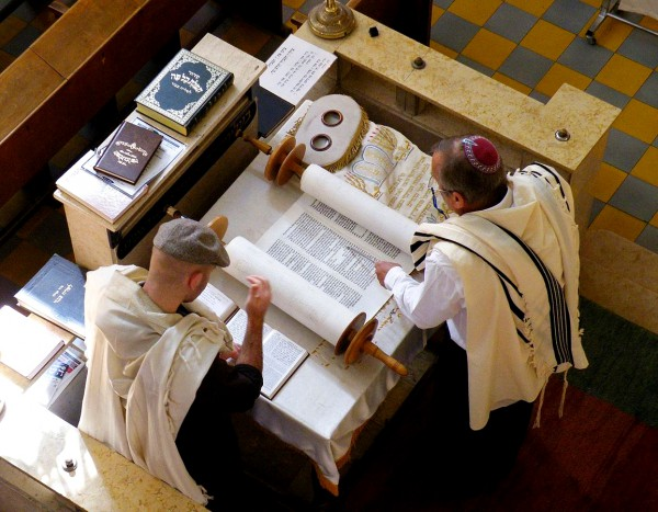 Torah scroll-tallit-bimah