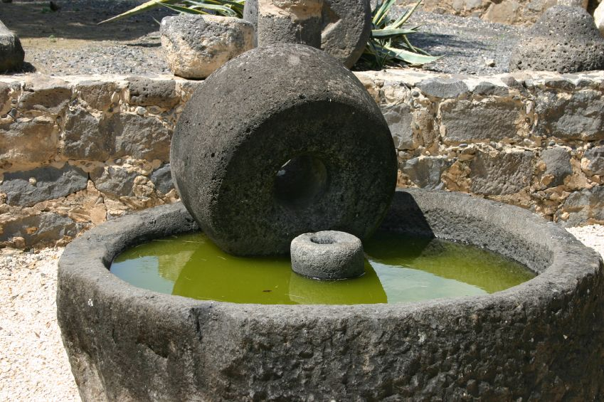 Ancient olive press in Capernaum, Israel