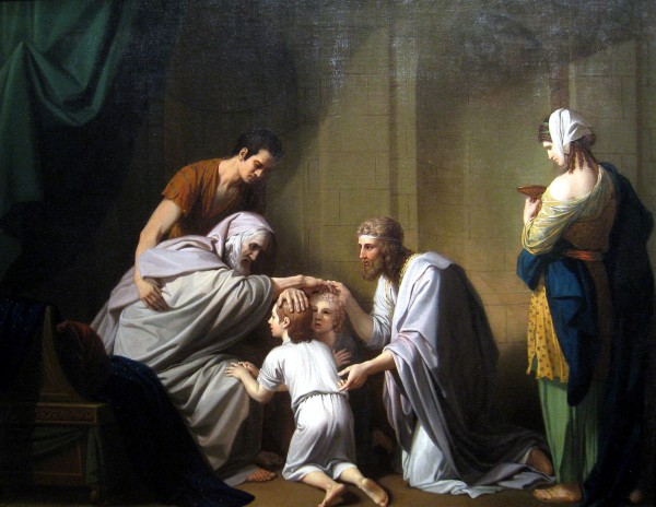 Jacob Blessing Ephraim and Manasseh, by Benjamin West