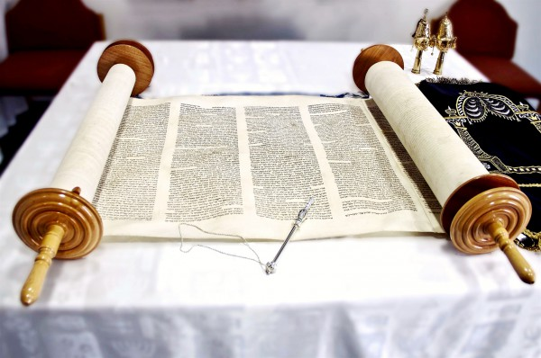 Torah scroll and yad (Torah pointer)