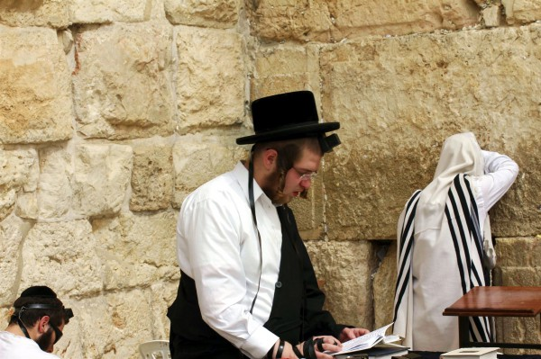 An Orthodox Jewish man prays at the Western (Wailing) Wall using a siddur (Jewish prayer book). The box and black straps are tefillin (phylacteries), which are put on during morning prayer.