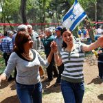 Two women joyfully dance on Jerusalem day to celebrate the miracle of the rebirth of the independent state of Israel.